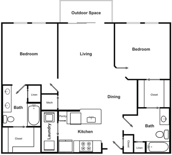 Floor Plan  2 Bedroom 2 Bathroom Floor Plan at The Encore by Windsor, Atlanta, GA, 30339