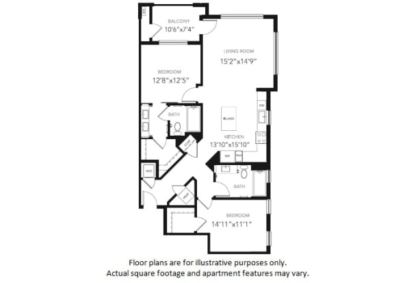Floor Plan  B2 Two Bedroom Two Bath Floor Plan at Blu Harbor by Windsor, CA, 94063