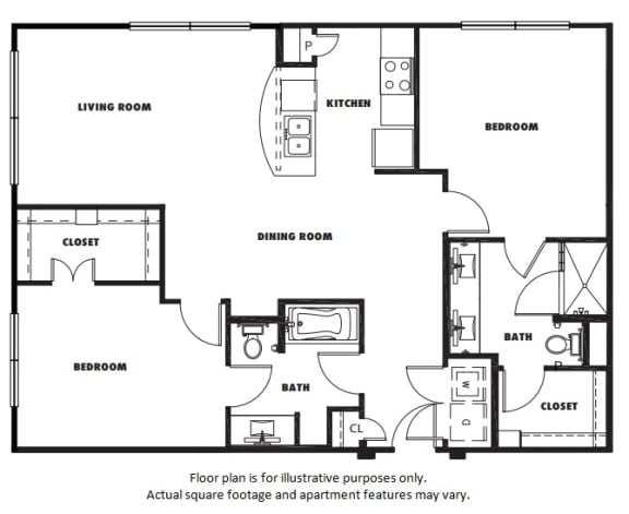 Floor Plan  B2 floor plan at Windsor Metro West, TX, 75024