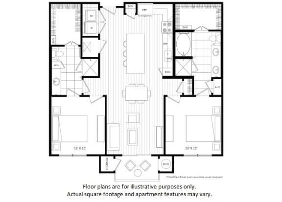 Floor Plan  B2 floor plan at Windsor Oak Hill, Austin, Texas