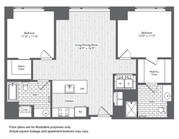 Floor Plan  B2 2 Bed 2 Bath Floor Plan at Waterside Place by Windsor, Boston, Massachusetts, opens a dialog