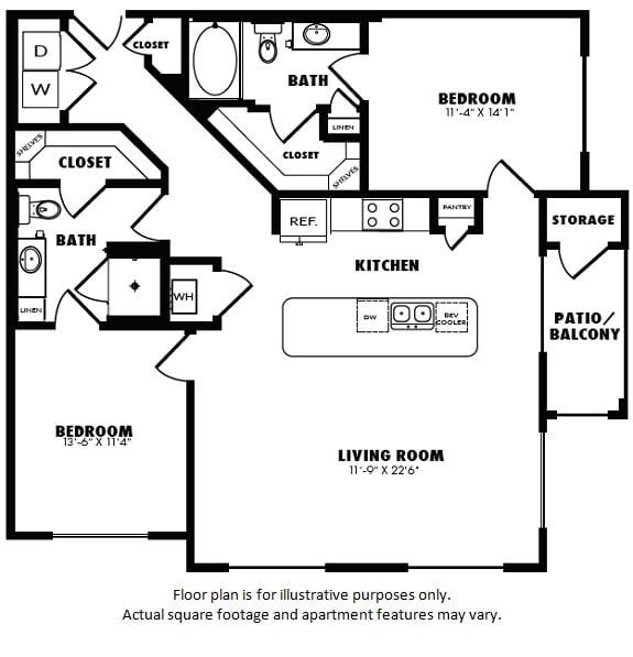 Floor Plan  B2(3) floor plan at Windsor Burnet, Austin, Texas