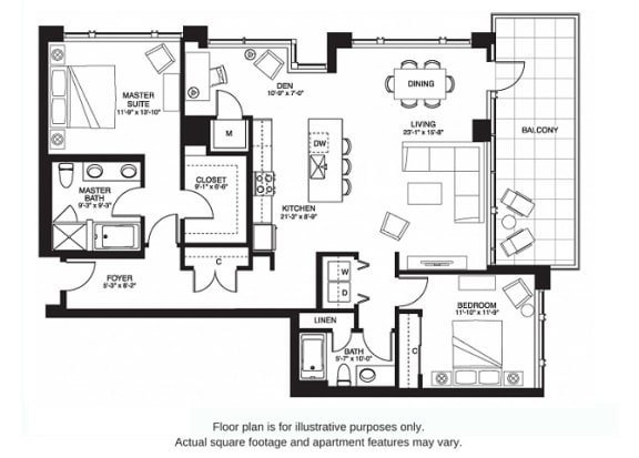 Floor Plan  B21 South(1) at The Bravern, 688 110th Ave NE, 98004