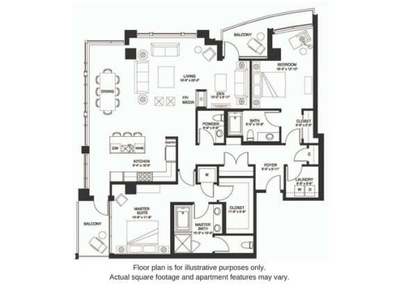 Floor Plan  B27 South floor plan at The Bravern, WA, 98004