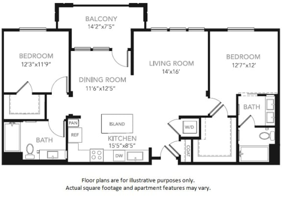 Floor Plan  B2-W Two Bedroom Two Bath Floor Plan at Blu Harbor by Windsor, 1 Blu Harbor Blvd, CA