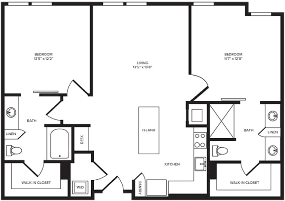 Floor Plan  B3(2) floor plan at Windsor Turtle Creek, Dallas, Texas
