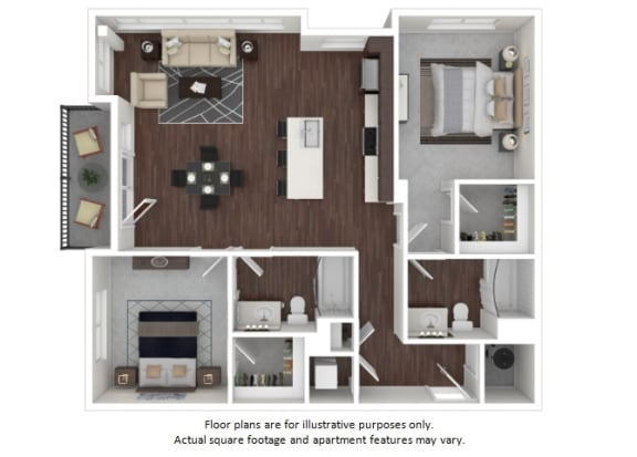 Floor Plan  B3 2 3D disclaimer floor plan at The Casey, 2100 Delgany, 80202
