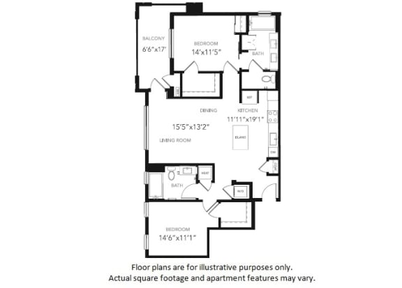 Floor Plan  B3 Two Bedroom Two Bath Floor Plan at Blu Harbor by Windsor, California, 94063