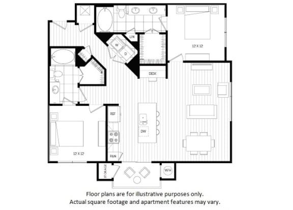 Floor Plan  B3 floor plan at Windsor Oak Hill, Texas, 78735