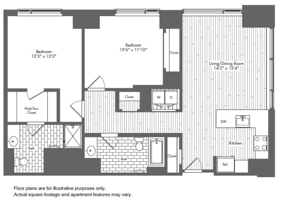 B3 2 Bed 2 Bath Floor Plan at Waterside Place by Windsor, Boston