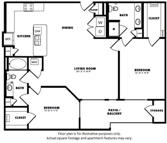 Floor Plan  B3(1) floor plan at Windsor Burnet, Austin, TX