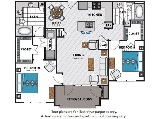 Floor Plan  B3 Two Bedroom Two Bath Floor Plan at Windsor Chastain, Georgia, 30342