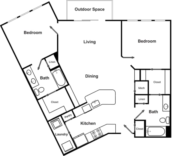 Floor Plan  Two bedroom Two bathroom Floor Plan at The Encore by Windsor, Atlanta, 30339