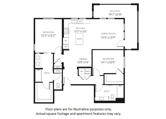 Floor Plan  B3-W Two Bedroom Two Bath Floor Plan at Blu Harbor by Windsor, Redwood City, California