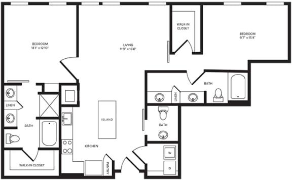 Floor Plan  B4(4) floor plan at Windsor Turtle Creek, Texas, 75219