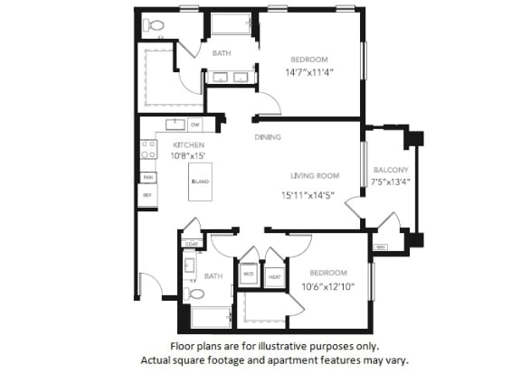 Floor Plan  B4 Two Bedroom Two Bath Floor Plan at Blu Harbor by Windsor, Redwood City, CA
