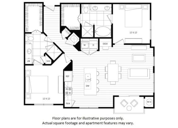 Floor Plan  B4 floor plan at Windsor Oak Hill, 6701 Rialto Blvd, 78735
