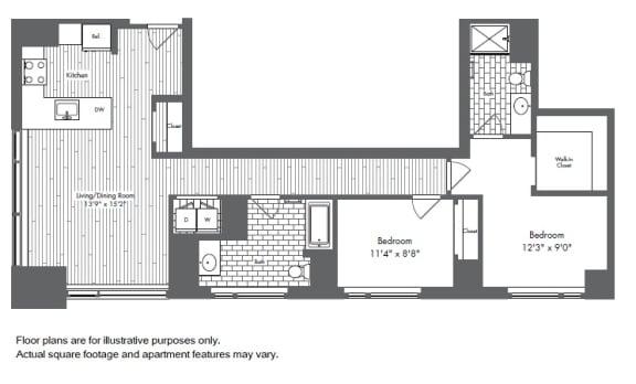 Floor Plan  B4 2 Bed 2 Bath Floor Plan at Waterside Place by Windsor, Massachusetts, opens a dialog