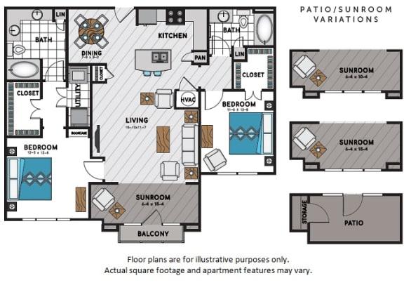 Floor Plan  B4 Two Bedroom Two Bath Floor Plan at Windsor Chastain, Georgia, 30342