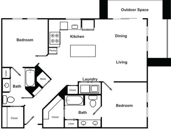 Floor Plan  2 Bedroom 2 Bathroom Floor Plan at The Encore by Windsor, Atlanta, Georgia