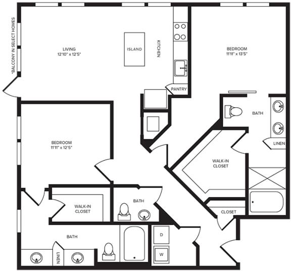 Floor Plan  B5(2) floor plan at Windsor Turtle Creek, 3663 Cedar Springs Rd, 75219