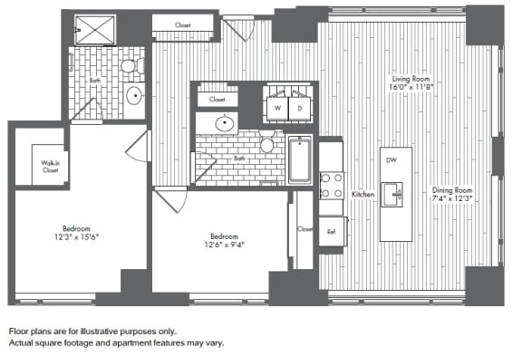 B5 2 Bed 2 Bath Floor Plan at Waterside Place by Windsor, Massachusetts, 02210
