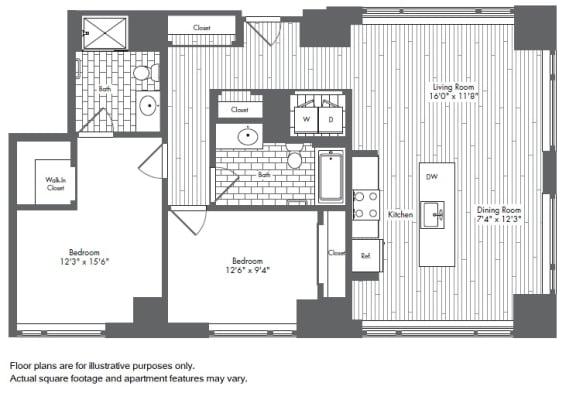 Floor Plan  B5 2 Bed 2 Bath Floor Plan at Waterside Place by Windsor, Massachusetts, 02210, opens a dialog