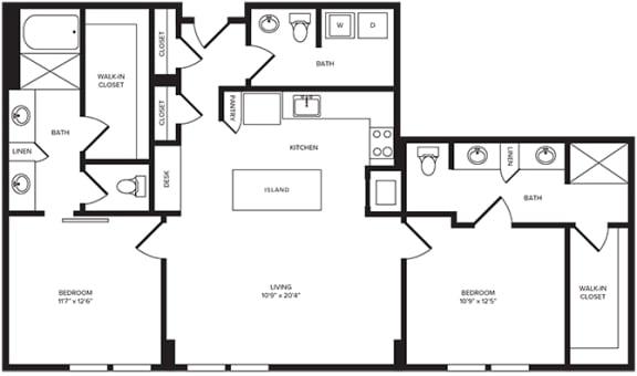 Floor Plan  B6(1) floor plan at Windsor Turtle Creek, Dallas, TX