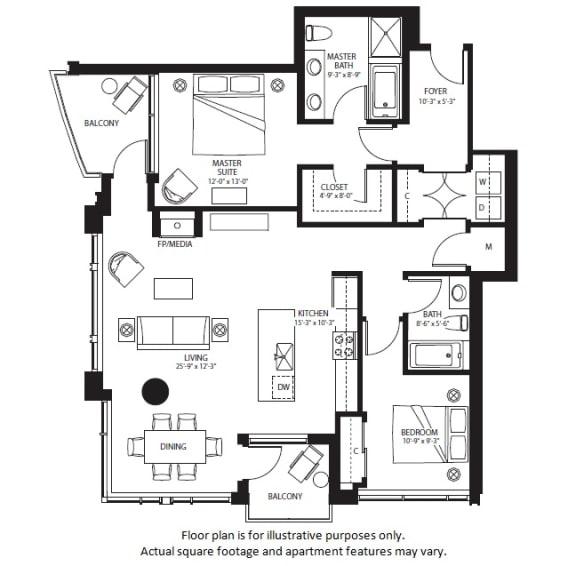 Floor Plan  B6 North NEWb floor plan at The Bravern, WA, 98004