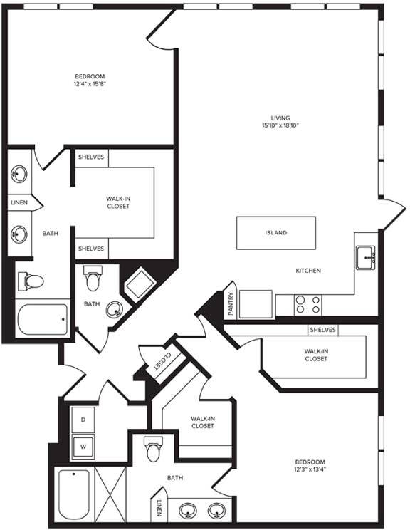 Floor Plan  B9(1) floor plan at Windsor Turtle Creek, Texas, 75219