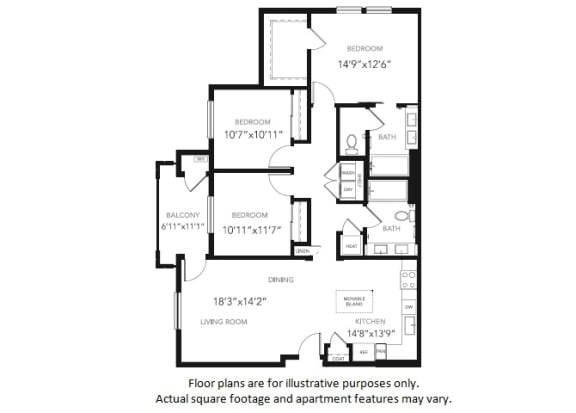 Floor Plan  C1 Three Bedroom Two Bath Floor Plan at Blu Harbor by Windsor, California, 94063, opens a dialog