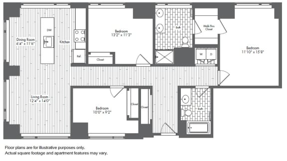 Floor Plan  C1 3 Bed 2 Bath Floor Plan at Waterside Place by Windsor, Boston, Massachusetts, opens a dialog