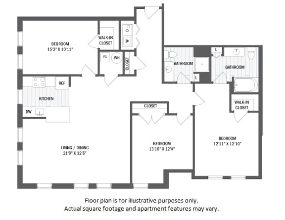 Floor Plan  C1(1) floor plan at Jack Flats by Windsor, 1000 Stone Place, 02176
