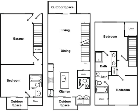 Floor Plan  3 Bed 3 Bath Floor Plan at The Encore by Windsor, Atlanta, GA, 30339