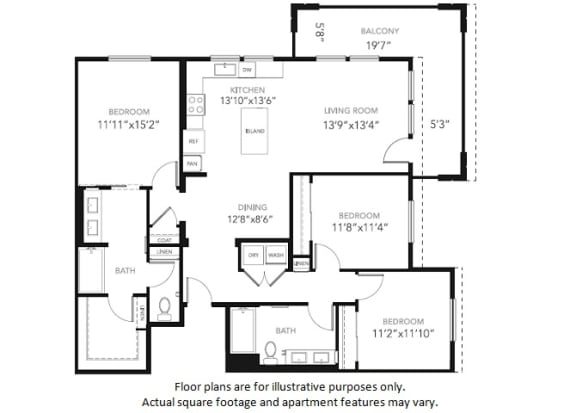 Floor Plan  C1-W Three Bedroom Two Bath Floor Plan at Blu Harbor by Windsor, CA, 94063