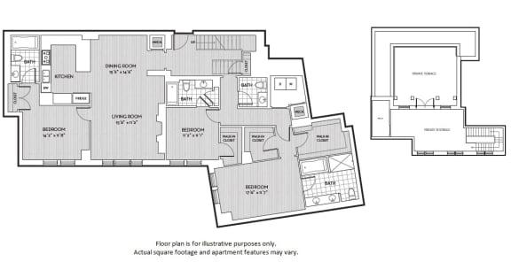 Floor Plan  C3 floor plan at The Woodley, Washington, DC 20008