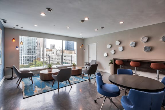 Resident space with seating at Renaissance Tower, 501 W. Olympic Boulevard, 90015