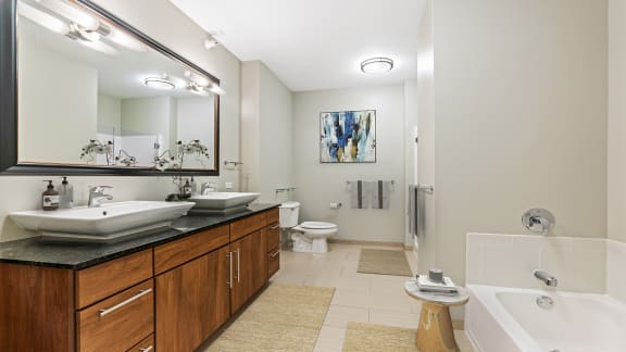 Large penthouse bathroom at Flair Tower Apartments, IL, 60654