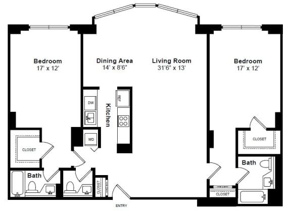 Floor Plan  Flatiron floor plan at Windsor at Mariners, Edgewater, NJ