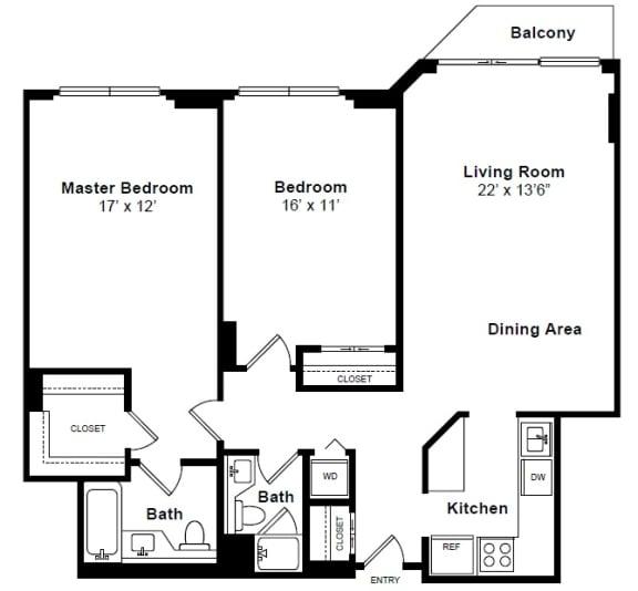 Floor Plan  Gramercy floor plan at Windsor at Mariners, 100 Tower Dr., Edgewater