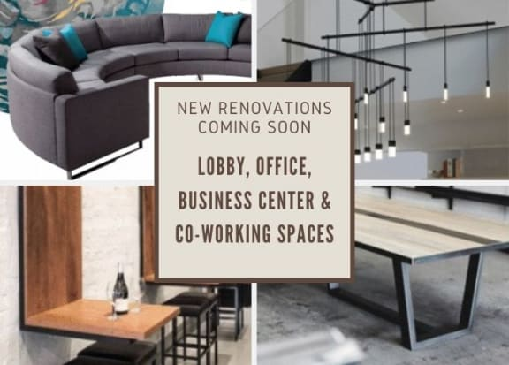 New renovations for lobby, office, business center, and co-working spaces banner at Windsor at Contee Crossing, Laurel, Maryland
