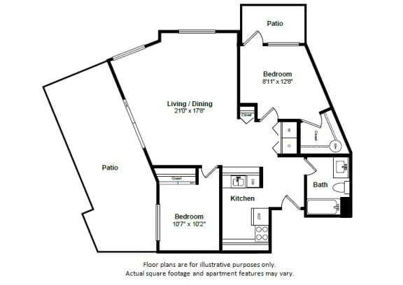 Floor Plan  Miami floor plan at Tera Apartments, Kirkland, Washington