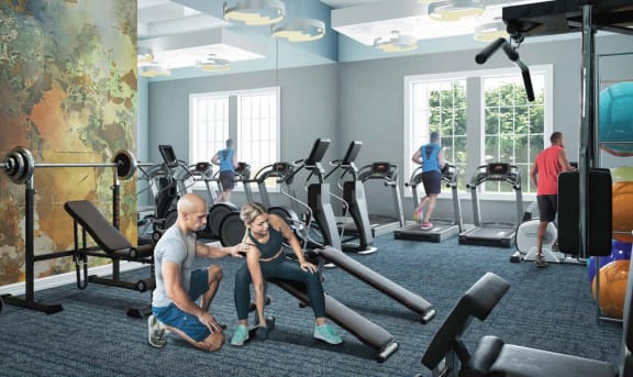 Rendering of people in fitness center at Windsor at Miramar, Florida, 33027