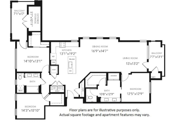 Floor Plan  PH1 Three Bedroom Two Bath Penthouse Floor Plan at Blu Harbor by Windsor, 1 Blu Harbor Blvd, CA