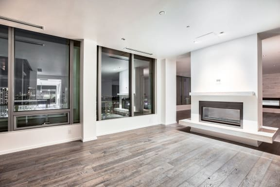 Hardwood penthouse flooring at The Bravern, WA, 98004