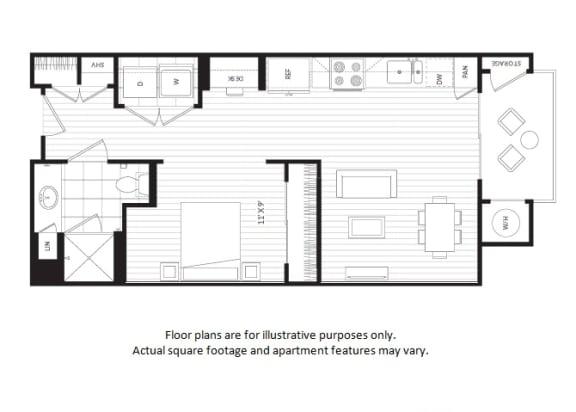 Floor Plan  S1 floor plan at Windsor Oak Hill, 6701 Rialto Blvd, 78735