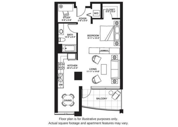 Floor Plan  S12 South floor plan at The Bravern, Bellevue, WA