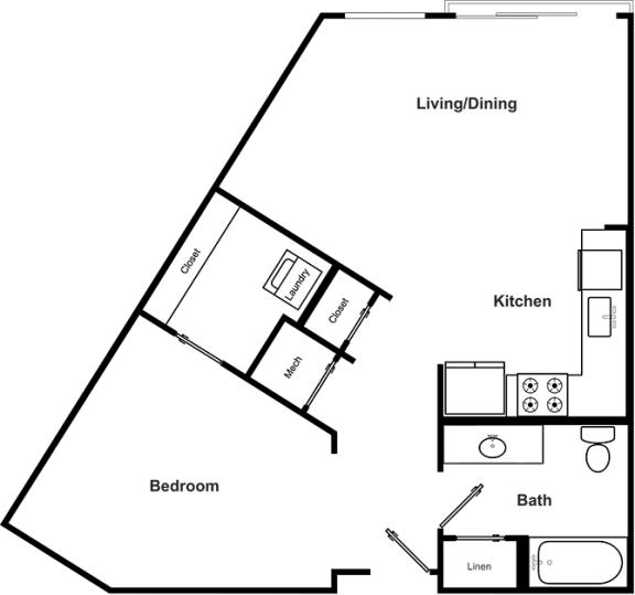 Floor Plan  1 Bedroom 1 Bathroom Floor Plan at The Encore by Windsor, Atlanta, 30339