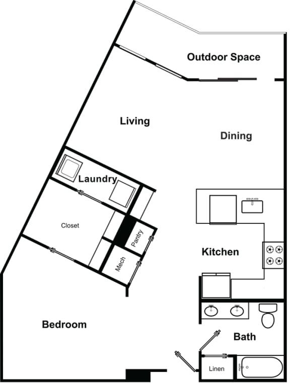 Floor Plan  1 Bedroom 1 Bathroom Floor Plan at The Encore by Windsor, Georgia, 30339