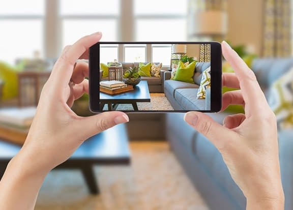 Self-guided tour on cell phone at Tera Apartments, Kirkland, Washington